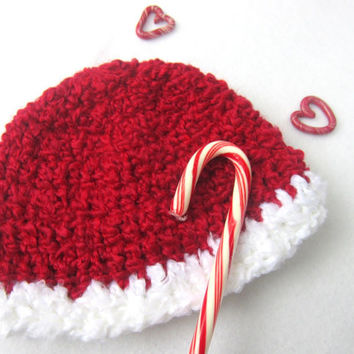 Red and White Christmas Hat, Soft Christmas Beanie, Santa Cap