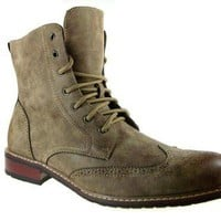 Delli Aldo Men's 828A Wing Tip Ankle High Boots