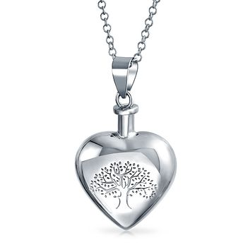 Heart Tree Cremation Locket Memorial Pendant Necklace Sterling Silver
