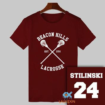 DCCKHG7 2017 Summer Teen Wolf T-shirt Stiles Stilinski 24 Tshirt BEACON HILLS LACROSSE Tops Tee Shirts TeenWolf Funny T Shirt Women Men