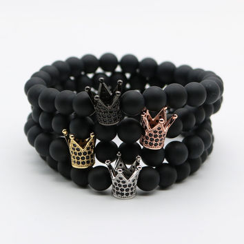 Micro Pave Black CZ Zirconia Gold Plated King Crown Charm Bracelet Men Dull Polish Matte Stone Bead Bracelets For Men Women NF-1