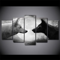 Black / White Wolf Wolves Wolfs Moon Wall Art Canvas Panel Print Poster