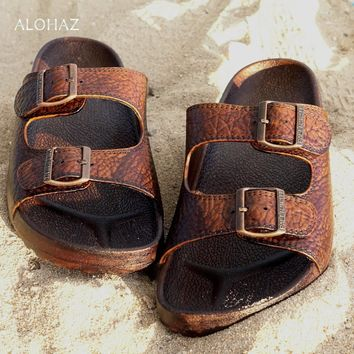 brown buckle jandals? - pali hawaii sandals