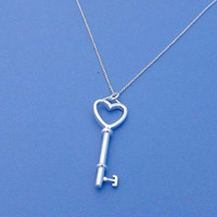 Silver key necklace-Long Silver Plated Chain
