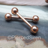 "Rose gold nipple ring barbells pair 14g rings 1/2"" pierced nipples body piercing jewelry 9/16"" tongue piercing barbell set gold stud 5/8"""