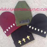 Studded Beanie Hat CHOOSE Hat Color with SKULL by ShopChicStud