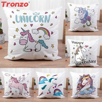 Tronzo Unicorn Pillowcase Unicorn Party Decorations 45*45cm Home Cartoon Cushion Cover With Letter For Birthday Party Supplies