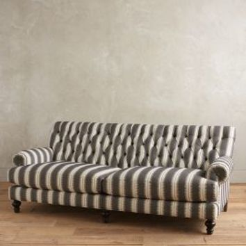 Yarn-Dyed Fan Pleat Sofa by Anthropologie in Black & White Size: Sofa Furniture