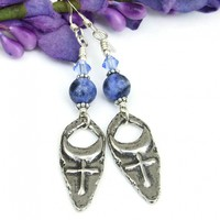 Cross and Moon Earrings, Pewter Sodalite Swarovski Crystals Mystical Handmade Jewelry for Women
