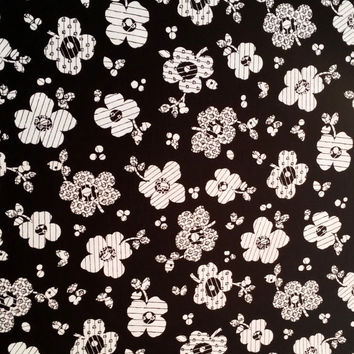 IN BLACK and WHITE patterned floral design on Black Dots Leaves Marcus Brothers Michele DAmore 1 yd Fun Fabric for Creative Genius Projects