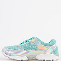 Bamboo Heavenly-01 Lace Up Hologram Sneakers | MakeMeChic.com