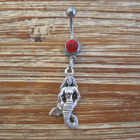Belly Button Ring - Body Jewelry - Mermaid with Red Gem Stone Belly Button Ring