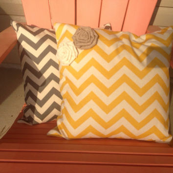 Set of 2 Chevron Pillows 18X18 Grey and Yellow by SunDaysDesigns