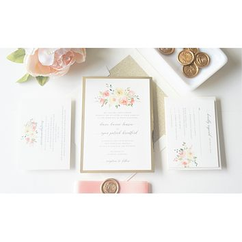 Blush and Gold Floral Vellum and Wax Seal Wedding Invitation - SAMPLE SET