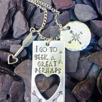Hand stamped 'The Great Perhaps' Necklace, Stars,Stamped, Quote, Jewellery, The Great Perhaps, TFIOS Author, John Green, Arrow, Compass.