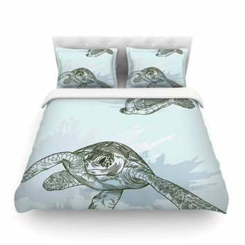 """Sam Posnick """"Sea Turtles"""" Green Blue Featherweight Duvet Cover"""