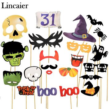Lincaier Halloween Decoration Horror Photobooth Props Pumpkin Mask for Kids Men Witch Bats Party Accessories Home Skull Spider