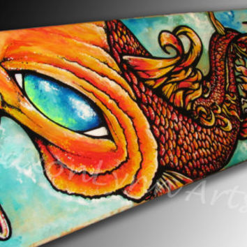 Custom Skateboard Art -  Koi Fish Painting - Made to order commission piece - Fine Art - FREE SHIPPING