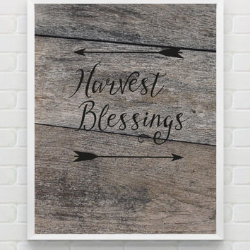 Autumn Wall Art - Rustic Wood Fall Printables - Arrows Instant Download - Fall Wall Art - Autumn Harvest Blessings Print - Autumn Wall Decor