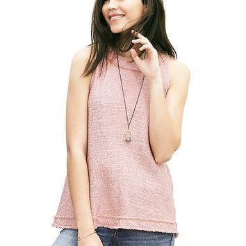 Fringed Tweed Sleeveless Top