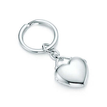 Tiffany & Co. -  Heart locket key ring in sterling silver.