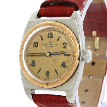 1940's Vintage Mid-Size Rolex Oyster Viceroy Stainless Steel 18K Rose Gold Watch