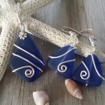 Handmade in Hawaii, Wire wrapped cobalt blue sea glass necklace + earrings jewelry set,925 sterling silver chain, gift box, wedding gift