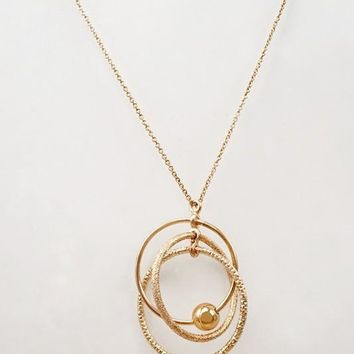 Women Fashion Jewelry Hoop Pendant Statement Sweater Necklace Chain Rose Gold