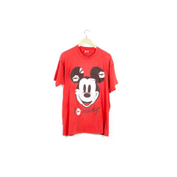 vintage mickey mouse kisses tee / i love mickey lipstick shirt / disney 1990s 90s / oversize / disneyland / baggy /pop/  hip hop / men large