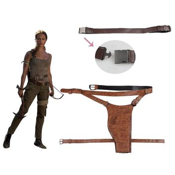 Tomb Raider Lara Croft Cosplay Shoulder Strap Belt With Holster Cosplay Acceessories Halloween Costume Props Leather Adult Women