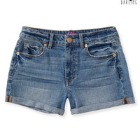 Womens Tokyo Darling High-Waisted Medium Wash Denim Shorty Shorts