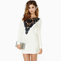 White Long Sleeve Key Hole Back with Lace Accent Mini Dress