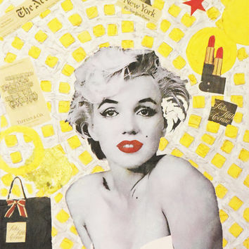 "ART Marilyn Monroe Portrait Mixed Media on Panel Acrylic Painting Gold & Colors Collections Modern 20""x26"" By Kathleen Artist PRO"