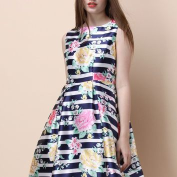 Blossoms and Stripes Pleated Dress