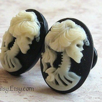 Zombie Cameo Plugs for Gauged Ears Sizes 00g, 0g, 2G, 4G, 6G, 4mm, 5mm, 6mm, 8mm, 10mm, Also Available For Pierced Ears
