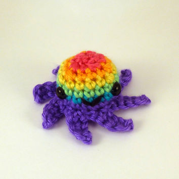 Bright Rainbow Striped Baby Octopus - Purple Base - Made to Order - Amigurumi Crochet Plushie