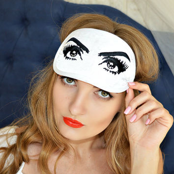 Eye Sleep Mask Regency Style Breakfast at Tiffanys Audrey Hepburn Silk Sleeping Woman Eyemask Embroidery Handmade Gift Accessories m11