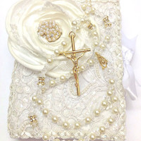 Lace Wedding bible and Rosary