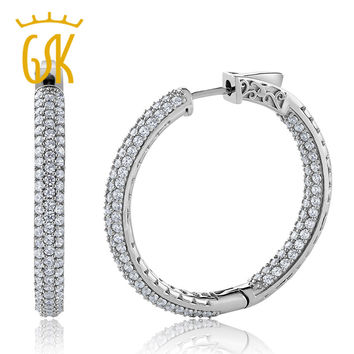 GemStoneKing 2.00 Ct 3 Row Pave Huggie Hoop Earrings Wide Inside-Out Cubic Zirconia 925 Sterling Silver Earrings For Women