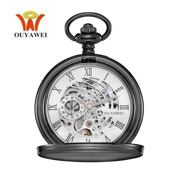 NEW OYW Special Skeleton Design Male Clock Mechanical Hand Wind Watch Men Retro Vintage Pendant Pocket Watch Gift Hombre Relogio