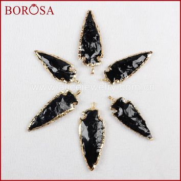 BOROSA Fashion Arroehead Pendants ,new raw black obsidian Multi Size of arrowhead pendants Quartz Druzy Necklace Pendants G823
