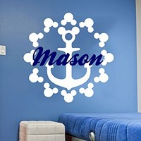 Mickey Mouse Wall Decal Bous Name Anchor Sticker Personalized Name Nursery Baby Kids Custom Name Vinyl Sticker Decals Bedroom Decor C598