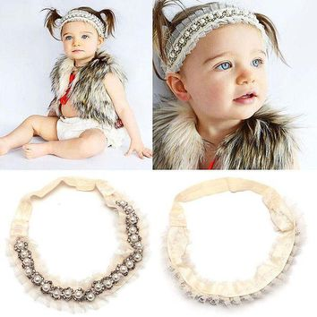 ESB1ON 1PCS  Girl Kids Lace Elastic Head Band Faux Pearl Rhinestone Headband Headdress hair decoration for kids