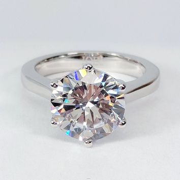 Victoria 4CT Round Cut IOBI Cultured Diamond Solitaire Ring