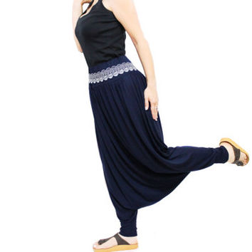 SALE / Women harem pants dark blue made of sweat, Yoga pants, Harem Pants, Lace Belt, Alibaba pants, Yoga clothing, Sweat genie pants