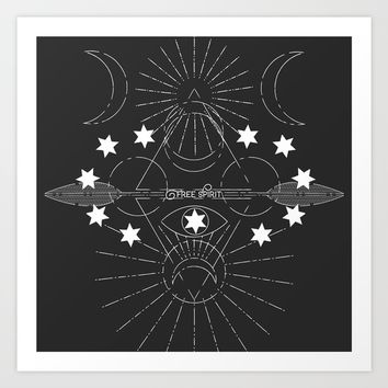 Free Spirit White Art Print by Musing Tree Designs