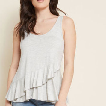 Up and Rufflin' Tank Top in Grey