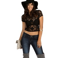 Black Hey Love Lace Top