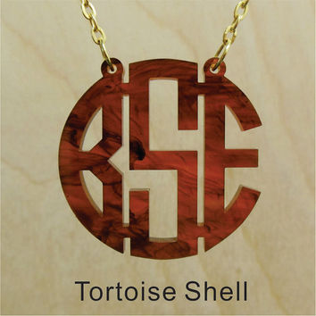 Acrylic Monogram Necklace (Tortoise Shell Acrylic Circle Monogram Necklace) Lasercut Jewelry-Pretty Personalized Gift