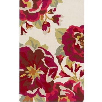 Outdoor Roses Red Floral Area Rug